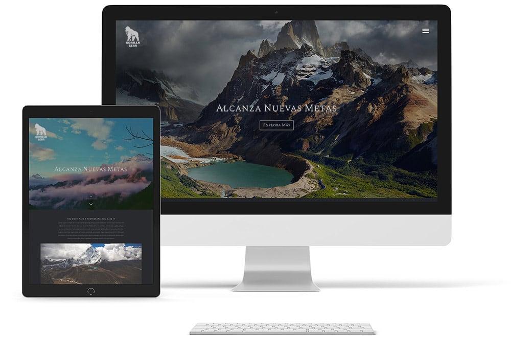 Mockup de sitio web responsivo resolución retina