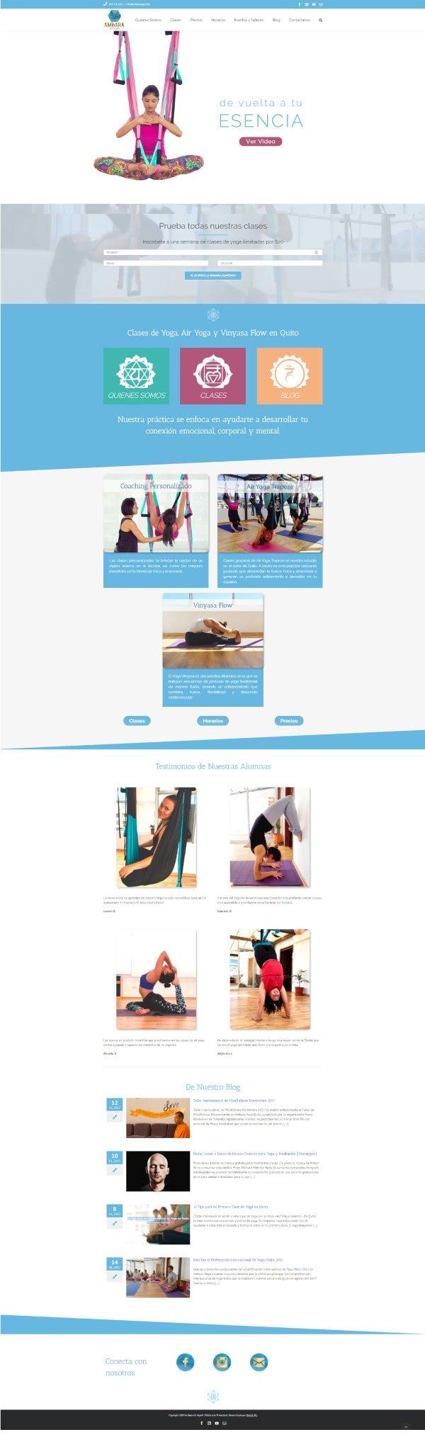 Página web desarrollada con Elementor
