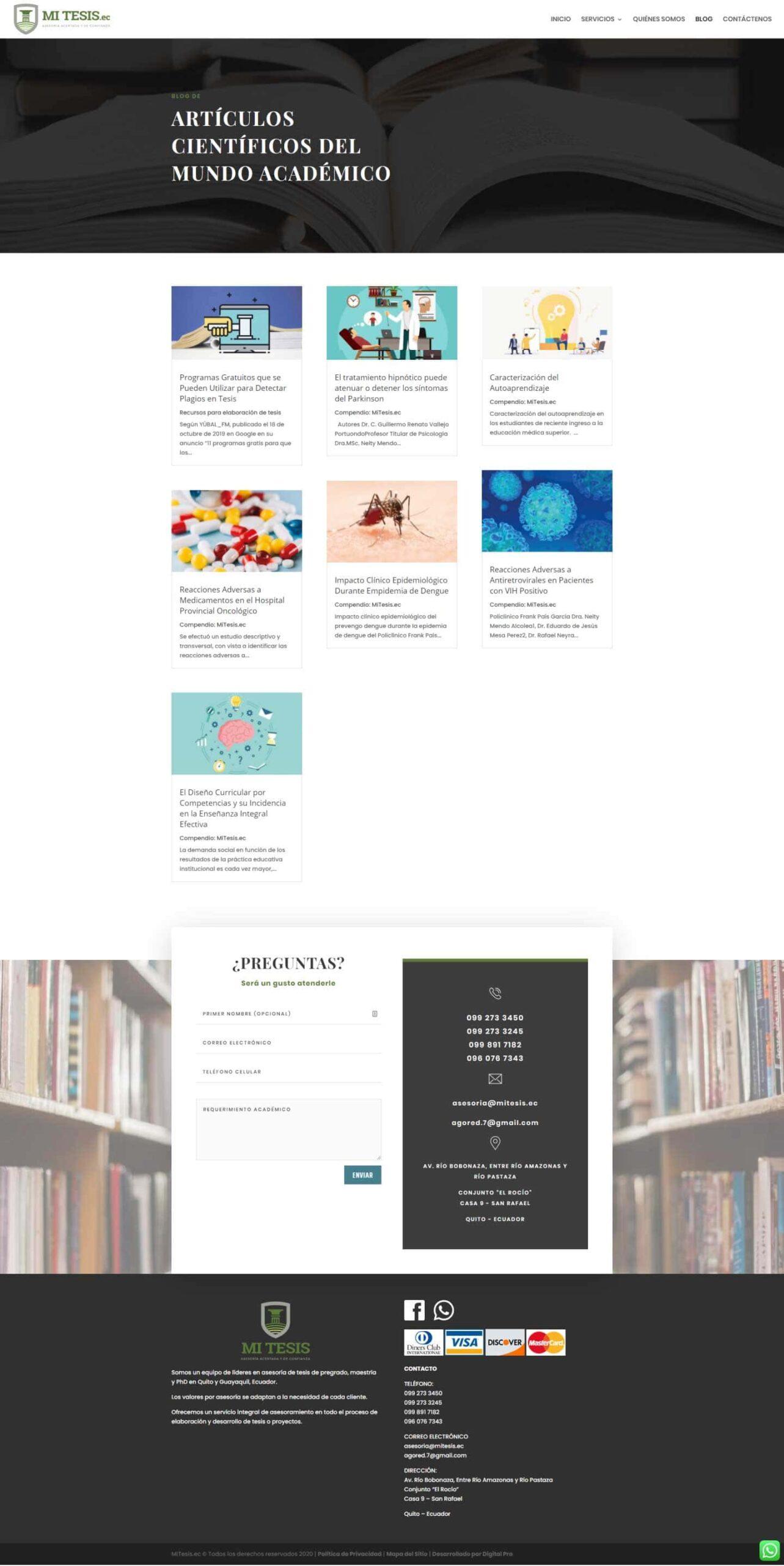 Blog de sitio web mitesis