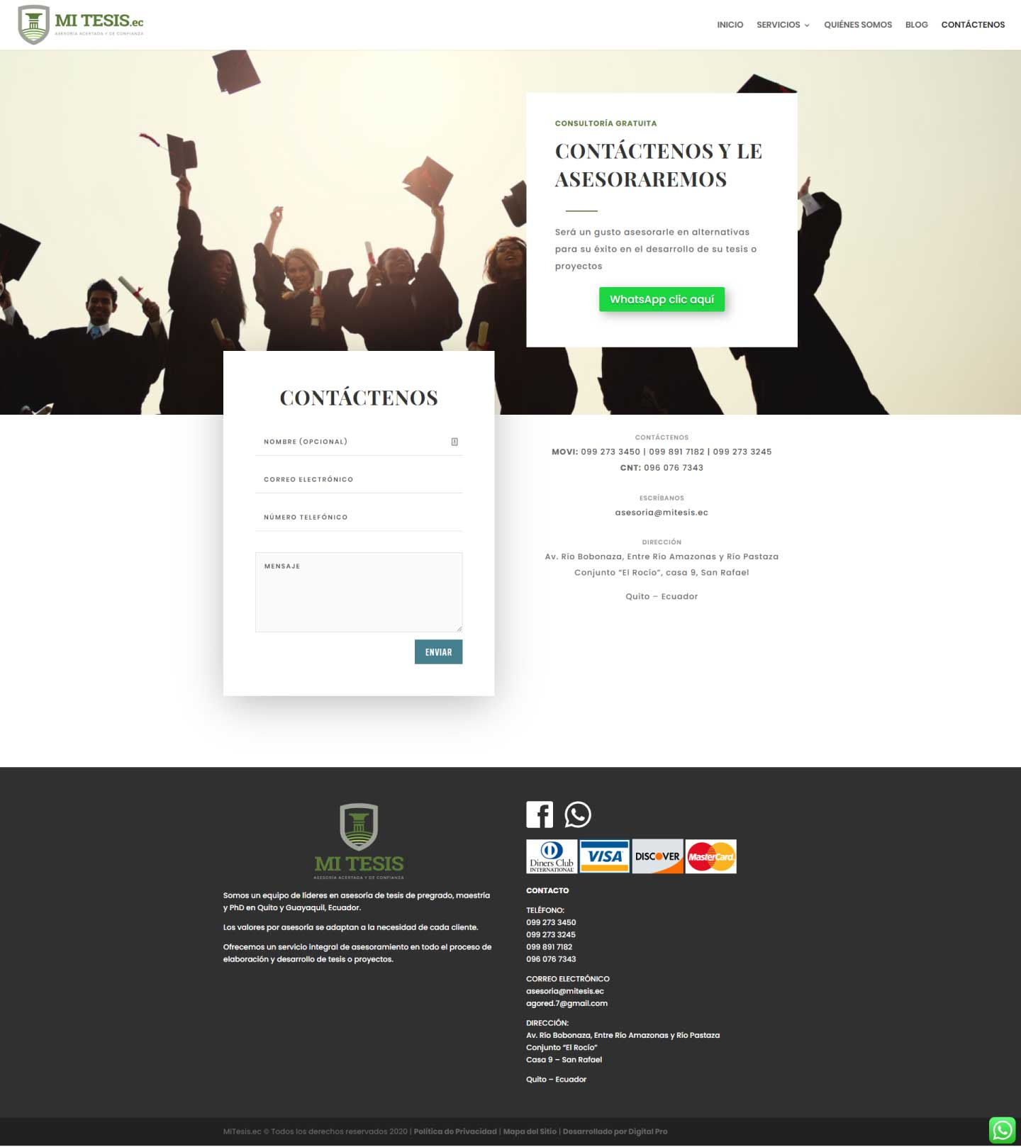 Homepage de sitio web mitesis