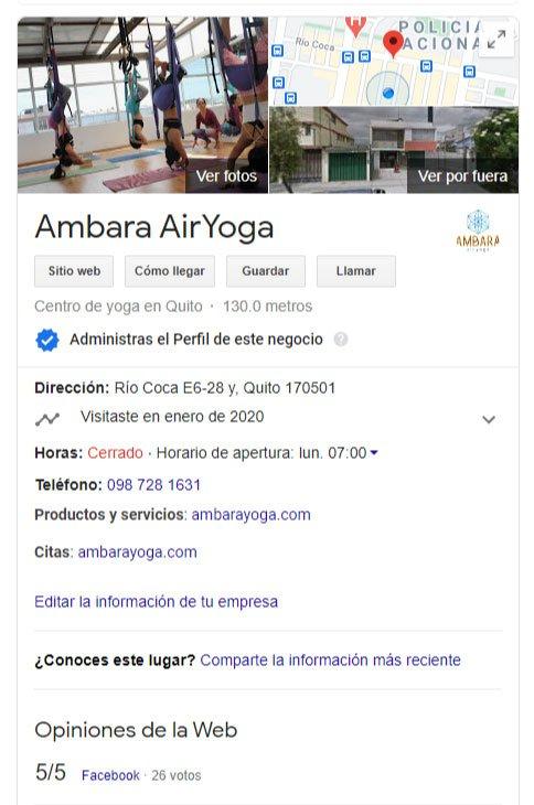 Ficha Google Mi Negocio en Quito